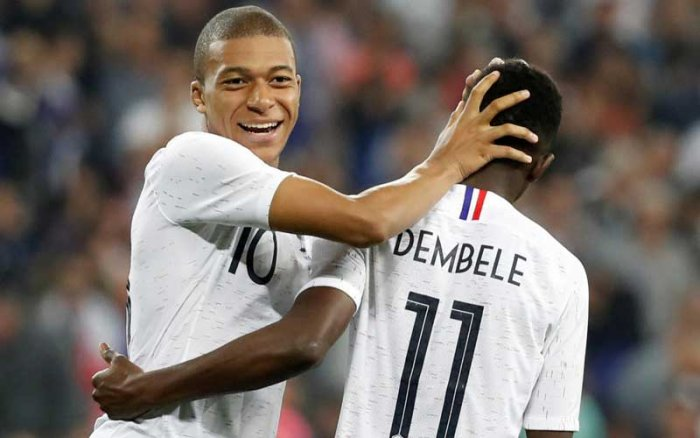 Kylian Mbappe, 19, and 21-year-old Ousmane Dembele, who have linked up impressively during the build-up matches, should start along with Antoine Griezmann, 27, to form a fearsome trio. Reuters photo