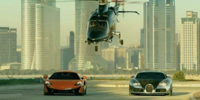 A McLaren 570GT and Bugatti Veyron 16.4 feature in 'Race 3', releasing today.
