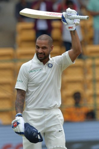 Shikhar Dhawan showed great confidence against Afghanistan spinners and pacers. AFP