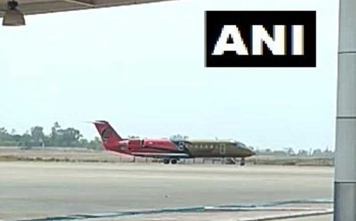 A Jabalpur-bound aircraft of a private airline with 48 passengers onboard made an unscheduled landing at the Raja Bhoj Airport on Saturday due to a technical glitch, an official said. ANI photo.