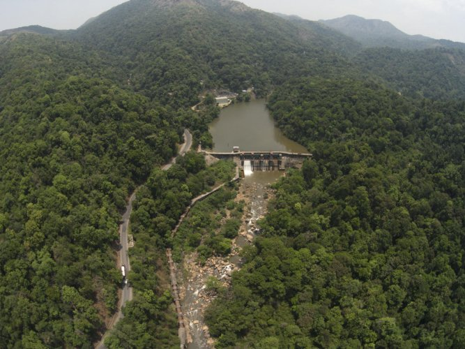 An aerial view of a small-scale hydropower project in the Western Ghats. KALYAN VARMA