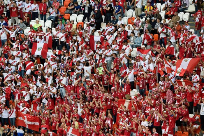 Fans are seen in the stadium before kick off of the Russia 2018 World Cup Group C football match between Peru and Denmark at the Mordovia Arena in Saransk on June 16, 2018. AFP PHOTO