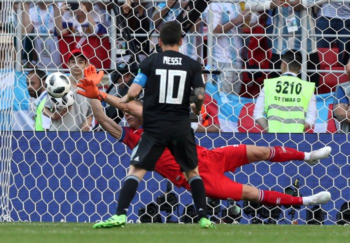World Cup Group D Argentina vs Iceland Spartak Stadium, Moscow, Russia, June 16, 2018 Iceland's Hannes Por Halldorsson saves a penalty taken by Argentina's Lionel Messi. Reuters photo