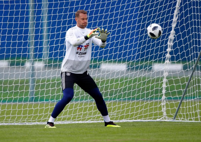 Germany's Manuel Neuer during training. Reuters photo.