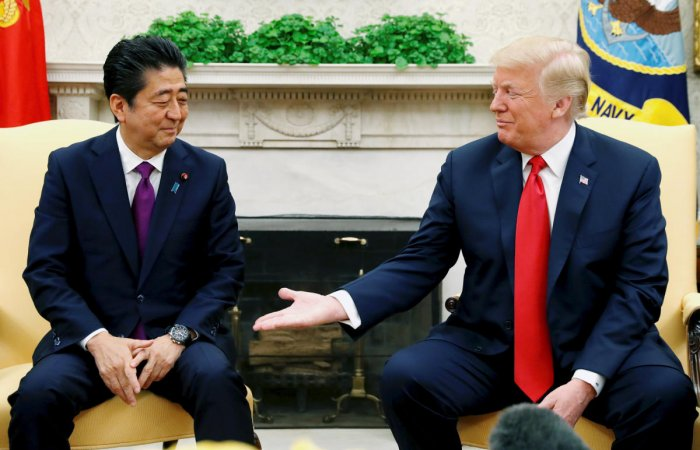 U.S. President Donald Trump meets with Japanese Prime Minister Shinzo Abe in the Oval Office of the White House. Reuters file photo.
