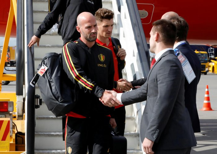 Belgium's Laurent Ciman during the arrival in Moscow REUTERS