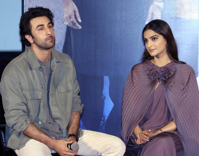 Bollywood actors Ranbir Kapoor and Sonam Kapoor during the trailer launch of their upcoming Hindi film 'Sanju', in Mumbai on Wednesday, May 30, 2018. PTI Photo