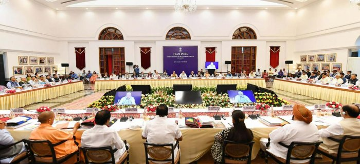 Prime Minister Narendra Modi at the fourth meeting of the Governing Council of NITI Aayog, in New Delhi on Sunday, June 17, 2018. PTI Photo