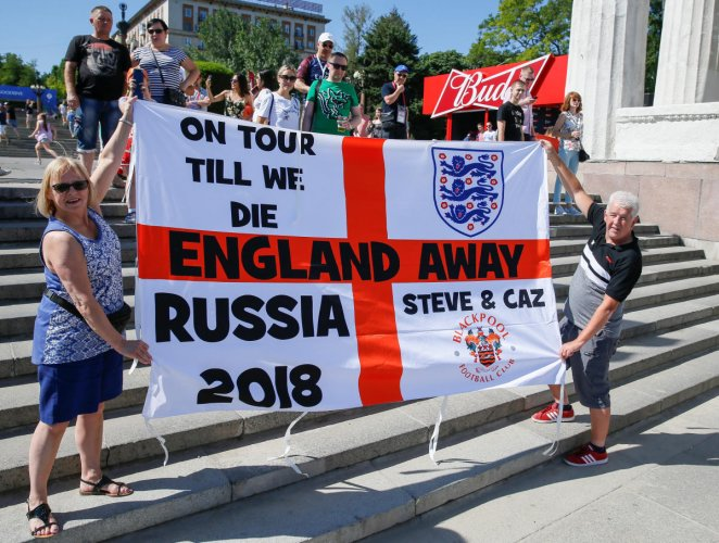 Supporters of England gather at a fan fest zone in Volgograd, Russia, on Sunday. (Reuters Photo)