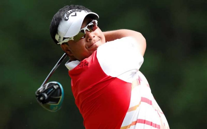 Kiradech Aphibarnrat of Thailand in action during the third round of the U S Open in Southampton, New York, on Saturday. (Reuters Photo)