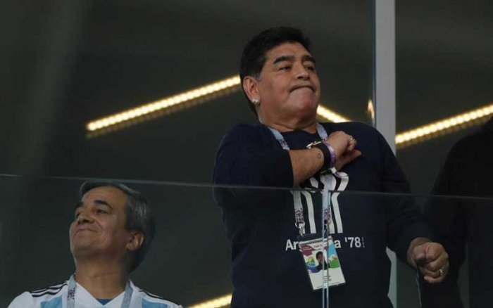 """Maradona is an official FIFA ambassador and attended the game in a VIP section as part of a group of former players branded as """"FIFA Legends."""" (AP/PTI Photo)"""