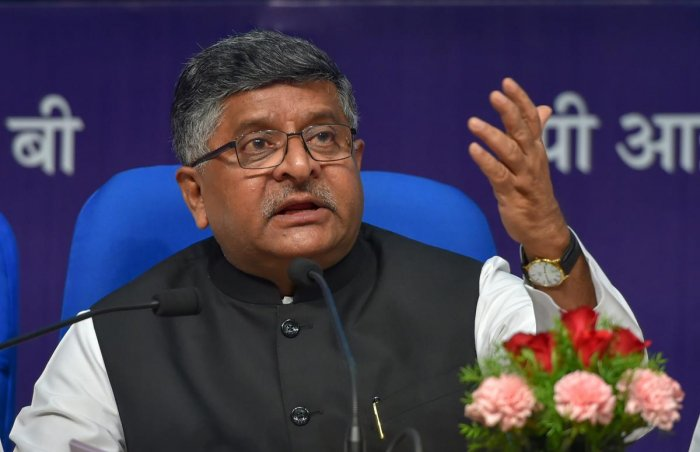 Union Minister for IT and Law and Justice Ravi Shankar Prasad during a press conference on the achievements of his ministry in last four years, in New Delhi on Monday, June 18, 2018. PTI Photo
