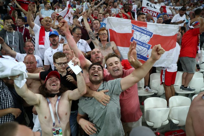England fans celebrate their team's victory over Tunisia in a Group G encounter in Volgograd on Monday. (Reuters)