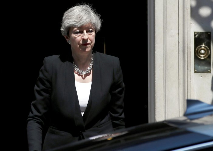 Britain's Prime Minister, Theresa May, leaves after speaking outside 10 Downing Street in central London. Reuters file photo