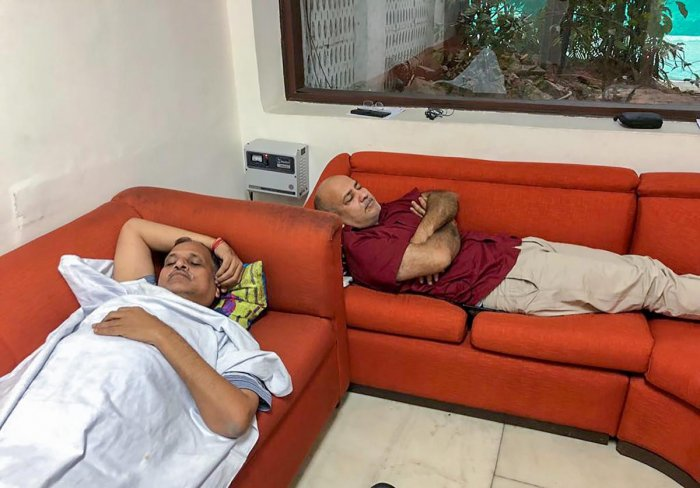 Delhi Deputy CM Manish Sisodia and Health Minister Satyendra Kumar Jain. (PTI Photo/ @AamAadmiParty Twitter)
