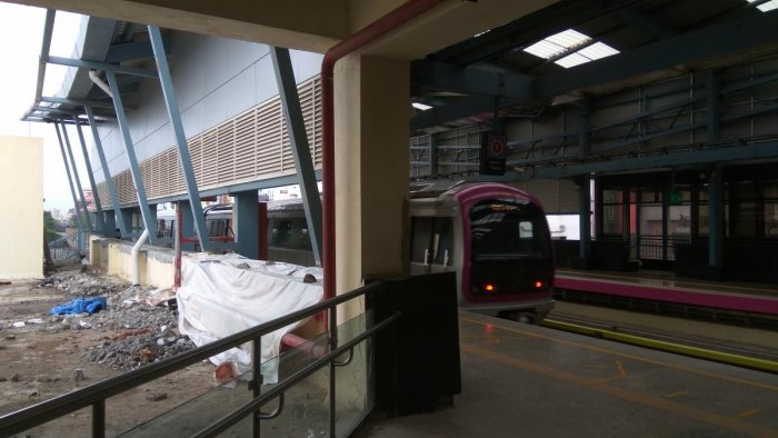 The MG Road metro station being repaired after it developed cracks due to substandard work.