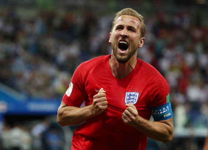 England's Harry Kane celebrates after scoring the team's second goal. (Reuters)