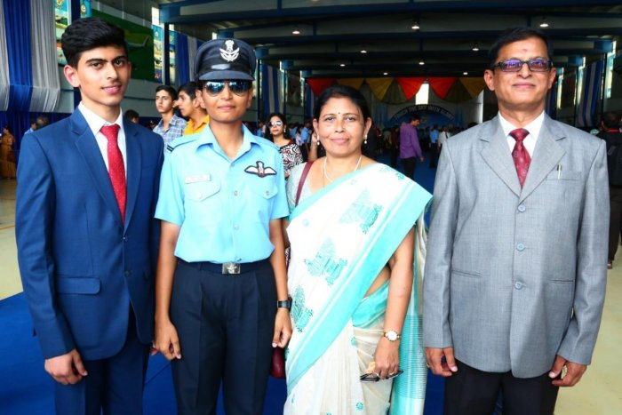 Meghana (second from left) with her younger brother Nirnay Shanbhough, mother C V Shobha and father M K Ramesh after the combined graduation parade at Dundigal near Hyderabad.
