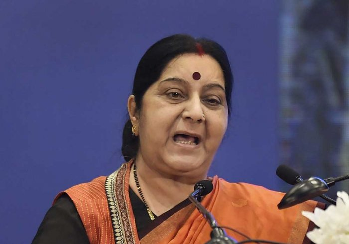 Swaraj, who arrived Paris from Rome yesterday on the second leg of her four-nation tour, called on French President Emmanuel Macron. (PTI file photo)