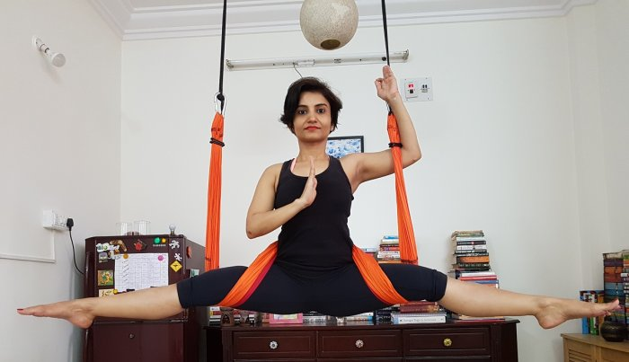 Aparna Pathak doing aerial yoga.