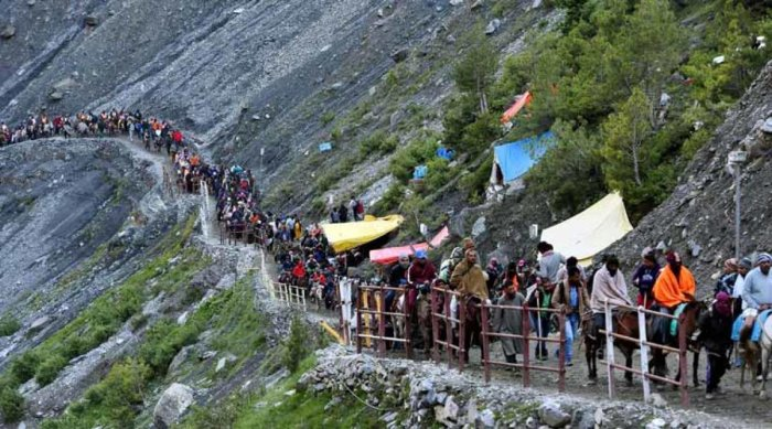 The two-month-long pilgrimage to the 3,880-metre high cave shrine of Amarnath will commence on June 28. (File photo)
