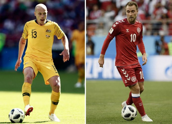 MEN WHO MATTER: Australia's Aaron Mooy and Christian Eriksen of Denmark will be the ones to watch out for when the two teams clash in Kazan on Thursday. AFP