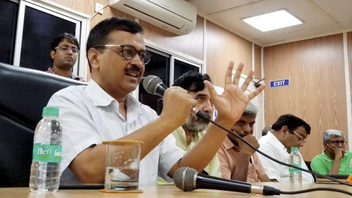 Delhi Chief Minister Arvind Kejriwal addresses a press conference at his residence in New Delhi on Tuesday. PTI/Twitter