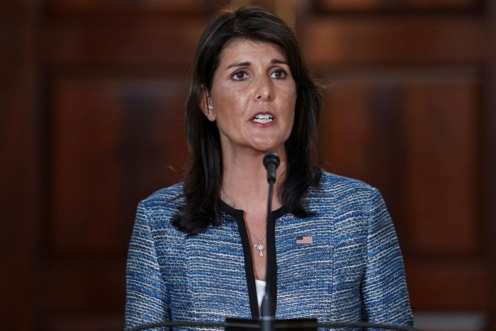 US Ambassador to the United Nations Nikki Haley delivers remarks to the press together with US Secretary of State Mike Pompeo (not pictured), announcing the U.S.'s withdrawal from the U.N's Human Rights Council at the Department of State in Washington. (REUTERS/Toya Sarno Jordan)