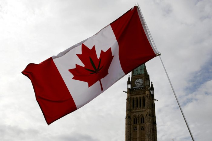 A Canadian flag with a marijuana leaf on it is seen during the annual 4/20 marijuana rally on Parliament Hill in Ottawa in April 2017. (Reuters file photo)