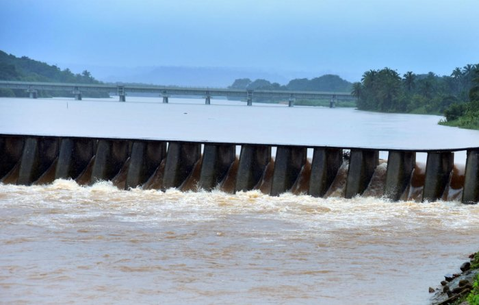 The water level in the Gurupura river has drastically increased. The river is seen gushing through the Malavooru vented dam and caught the attention of shutterbugs on Wednesday. DH Photo/ Govindraj Javali