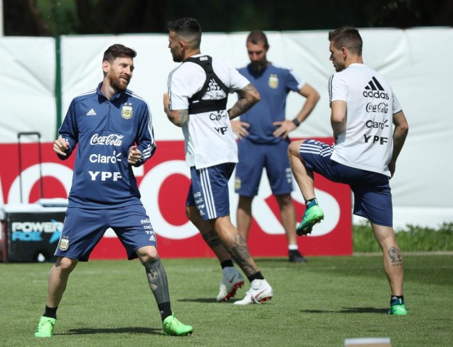 2018 Argentina's Lionel Messi during training on Wednesday. (REUTERS/Albert Gea)