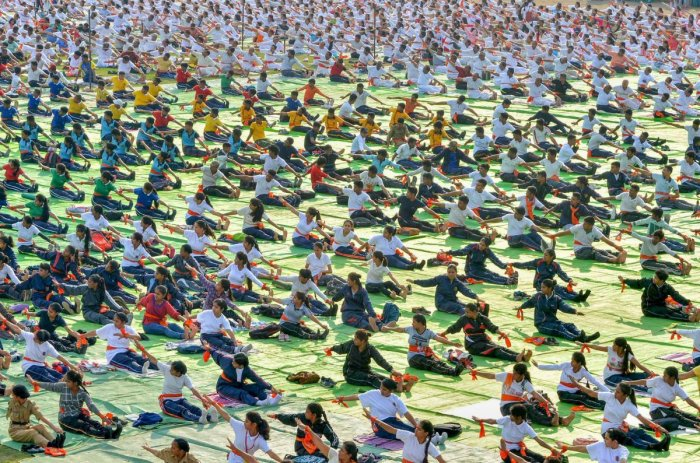 Enthusiasts participate in a mass event to mark the 4th International Day of Yoga in Nagpur on Thursday. (PTI File Pic)