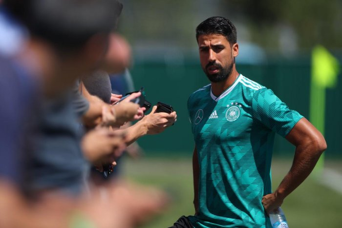 Germany's Sami Khedira during a news conference. REUTERS