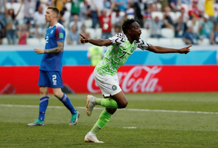 Nigeria's Ahmed Musa celebrates scoring their first goal.  REUTERS