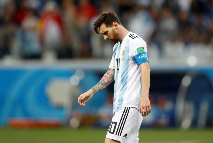 Argentina's Lionel Messi looks dejected after the match. REUTERS
