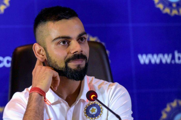 Indian cricket captain Virat Kohli reacts during a press conference ahead of the team's departure for England and Ireland, in New Delhi. PTI Photo