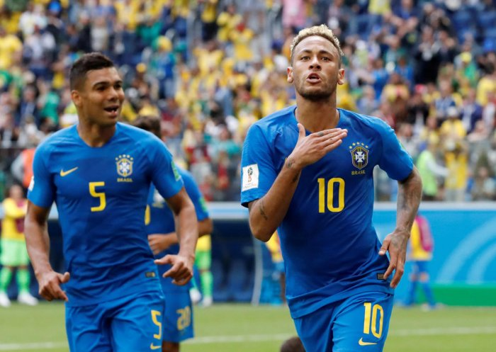 Brazil's Neymar celebrates scoring their second goal. REUTERS
