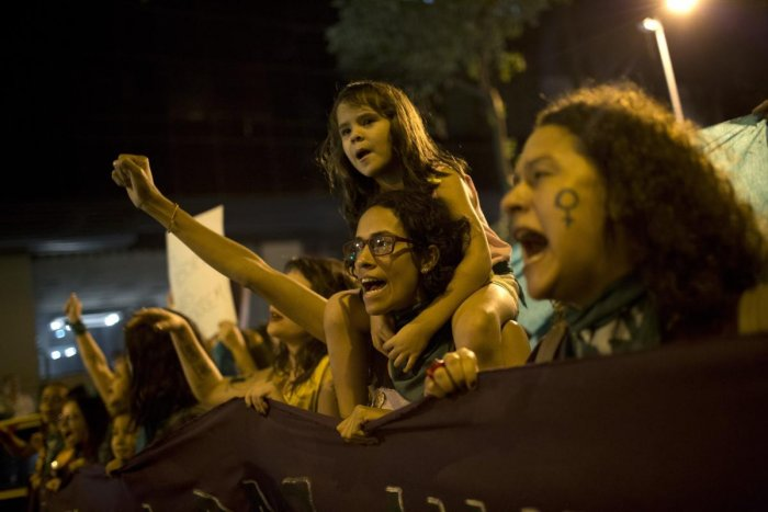 Rio de Janeiro: Women chant during a protest demanding the legalization of abortion without exception, in Rio de Janeiro, Brazil on Friday. Abortion is illegal in Brazil, except when a woman's life is at risk, when she has been raped or when the fetus has