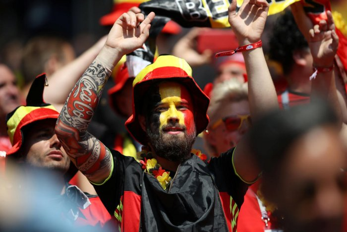Belgium fan with face paint before the match REUTERS