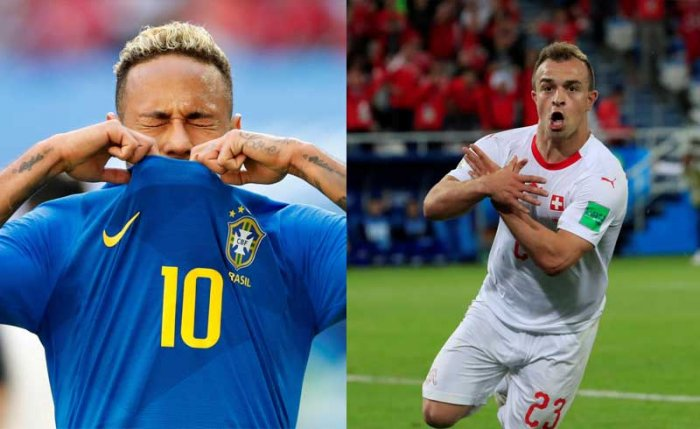 Brazil's Neymar and Switzerland's Shaqiri. Reuters photos.