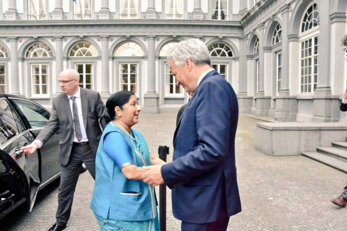 Delegation-level talks led by Foreign Minister Sushma Swaraj and Deputy PM and Foreign Minister of Belgium Didier Reynders. (Twitter/MEAIndia)