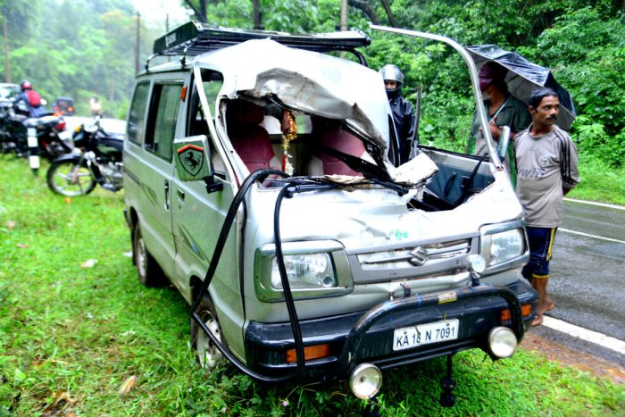 The Maruti Omni van which was damaged in the elephant attack at Kidu near Bilinele of Subrahmanya forest range on Saturday. dh photo