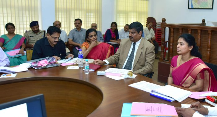 Additional Deputy Commissioner Vaishali chairs a meeting on child rights protection in Mangaluru on Saturday.