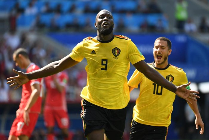 Belgian forward Romelu Lukaku celebrates after scoring his team's second goal during their match against Tunisia on Saturday. Eden Hazard (10) also scored two goals in Belgium's 5-2 win. AFP