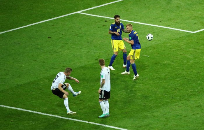 Germany's Toni Kroos scores their second goal REUTERS