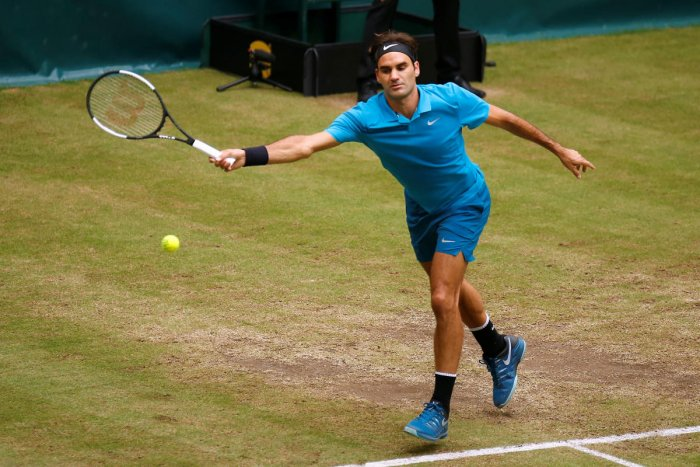 Switzerland's Roger Federer in action during the final against Croatia's Borna Coric. Reuters Photo