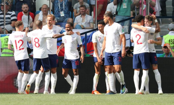 World Cup - Group G - England vs Panama - Nizhny Novgorod Stadium, Nizhny Novgorod, Russia - June 24, 2018 England's John Stones celebrates scoring their fourth goal with team mates REUTERS