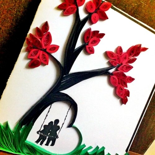 Alok creates handmade cards with cartoons and quilled designs.