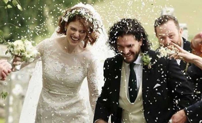 The couple met on the HBO fantasy show in 2012 where they played on-screen lovers Jon Snow and Ygritte before Leslie left the show in 2014. (Image: Twitter)