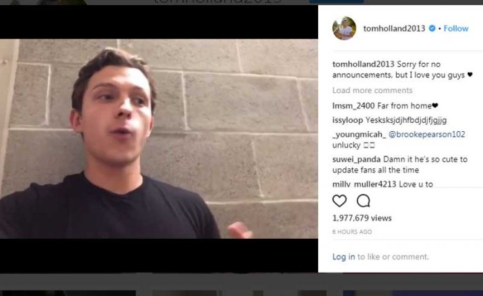 """The 22-year-old actor revealed the name of his next stand-alone, which is """"Spider-Man: Far From Home"""" in a faux pas on Instagram."""